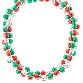 Red, Green and Silver Sleigh Bells Necklace,