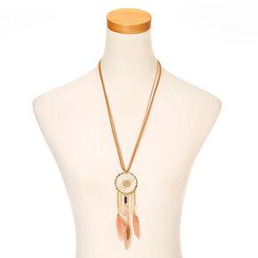 Tan Faux Suede and Gold-tone Dreamcatcher Pendant Necklace,
