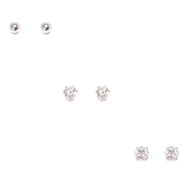 Classic Trio Cubic Zirconia Magnetic Stud Earrings,