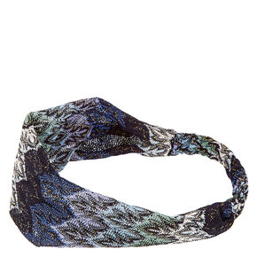 Midnight Blue Flame Print Headwrap,
