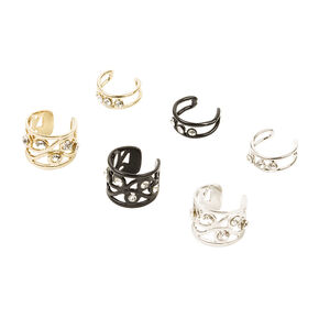 Mixed Metals Three Crystal and Filigree Scroll Ear Cuffs Set of 6,