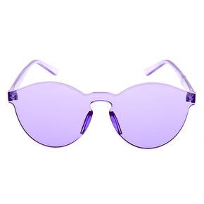 Rimless Purple Tinted Transparent Sunglasses,
