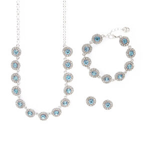 Pavé Rhinestone and Aquamarine Crystal Circles Statement Necklace, Bracelet and Stud Earrings Set,