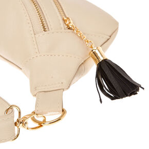 Nude Faux Leather Tassle Fanny Pack,