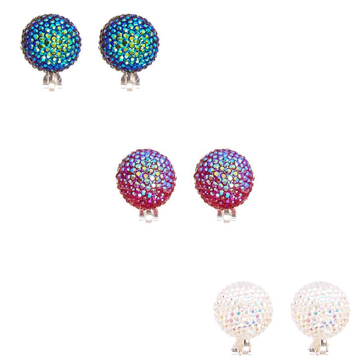 Mermaid Scales Oversized Dome Clip-on Stud Earrings,