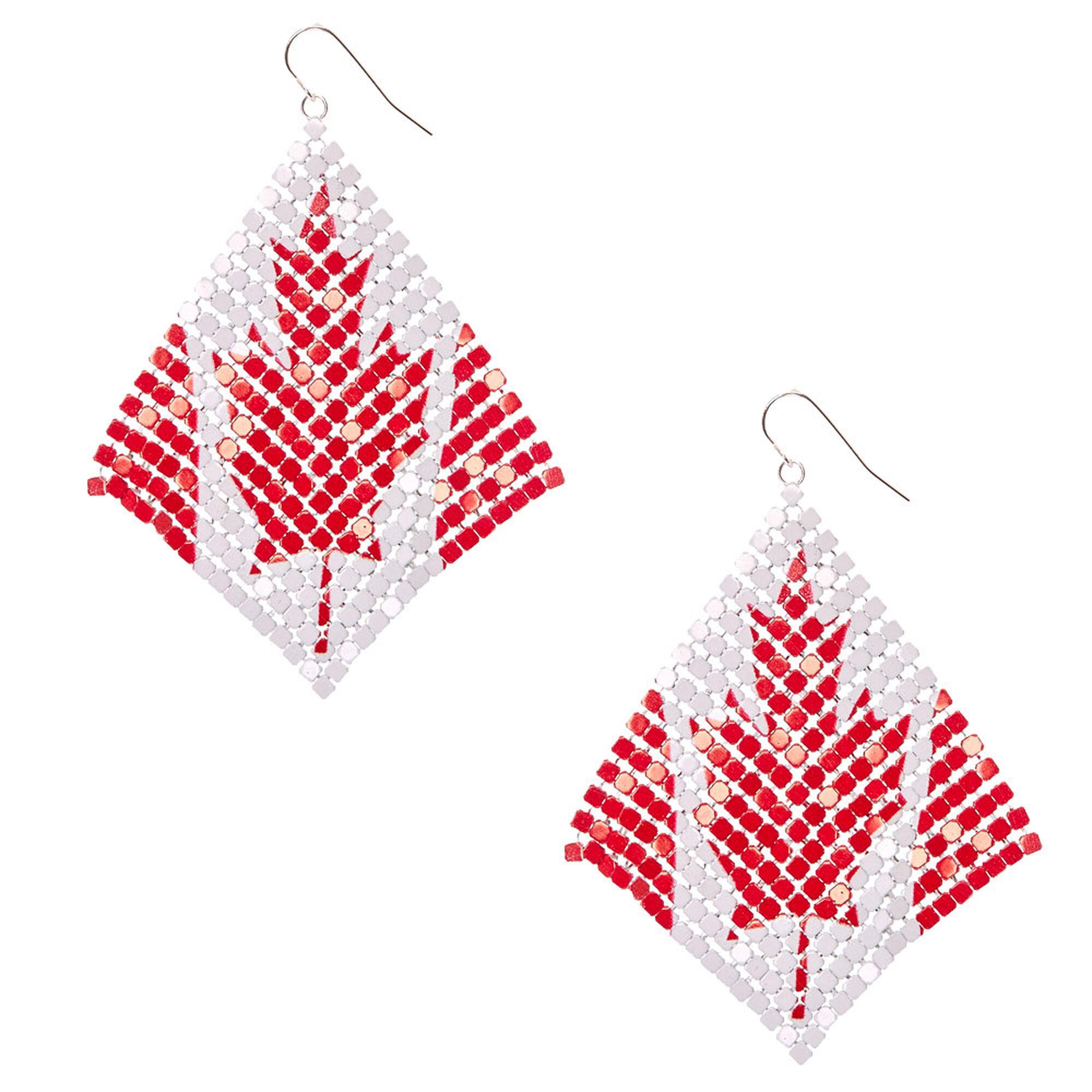 mesh canadian flag drop earrings claire u0027s ca