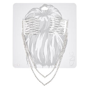 Silver-tone Double Chain Peaked Faux Crystal Decorative Hair Swag,