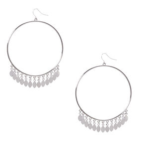Silver-Tone Large Circle Drop Earrings with Dangles,