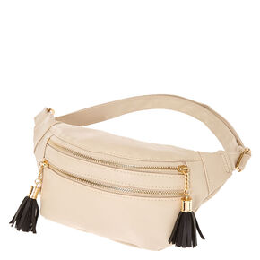 Nude Faux Leather Tassel Fanny Pack,