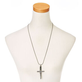Gothic Crystal Hematite Cross Necklace,