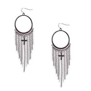 Black Gothic Hoop Chain Fringe Drop Earrings,