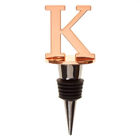 "Metallic Monogram Letter ""K"" Wine Stopper,"