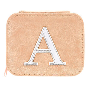 "Blush Pink ""A"" Initial Jewelry Case,"