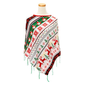 Ugly Christmas Sweater Knit Poncho,