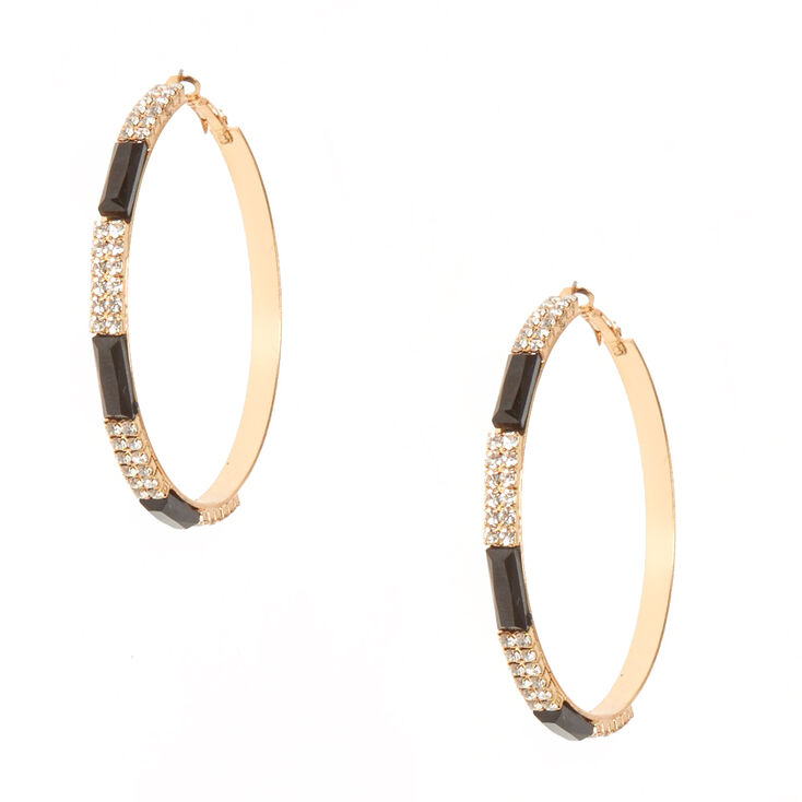 Black and Crystal Striped Gold-tone Hoop Earrings,