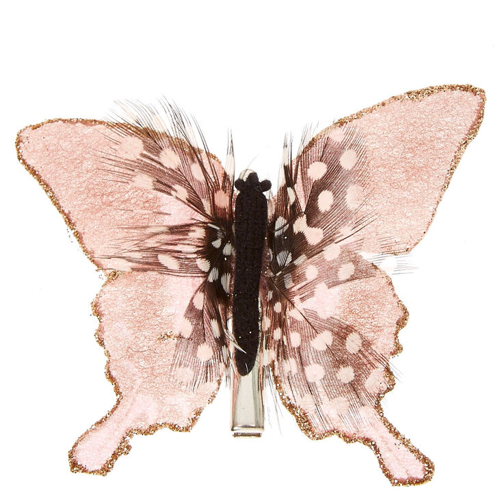 Pink Spotted Feathers Butterfly Hair Clip,