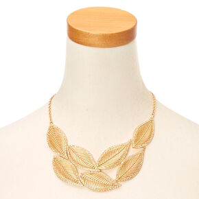 Gold Glitter Leaf Necklace,