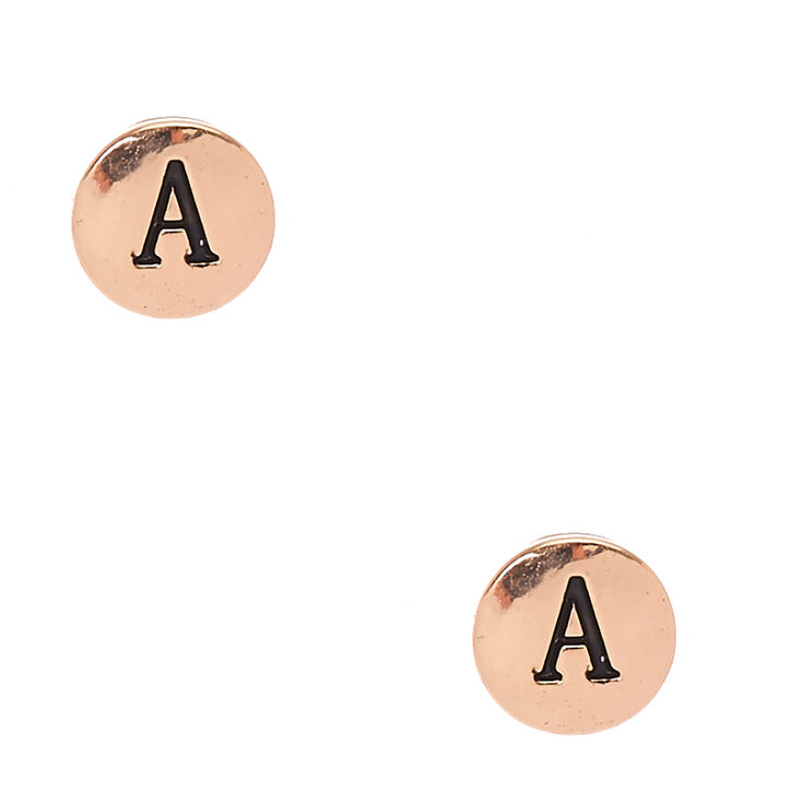 Gold-Tone Initial A Stud Earrings,