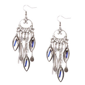 Burnished Silver-tone Medallion Charm Chain Fringe Drop Earrings,