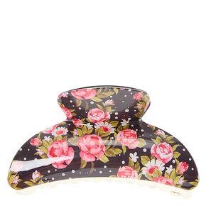 Pink Rose Print Hair Claw,