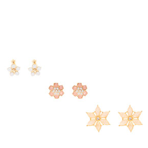 Pastel Crystal Flower Clip-on Stud Earrings,