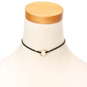 Circle Pendant Faux Suede Choker Necklace,