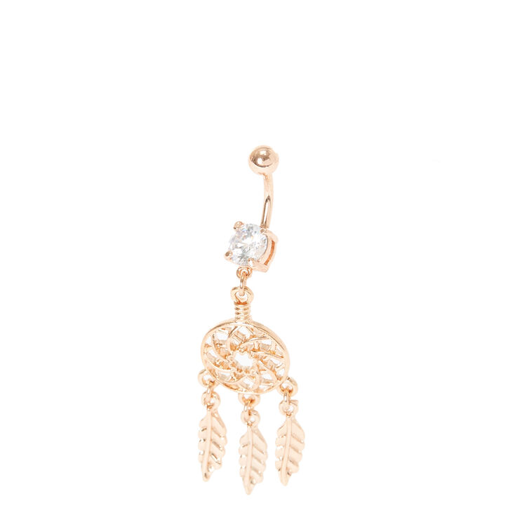 Rose Gold Dream Catcher Belly Ring,