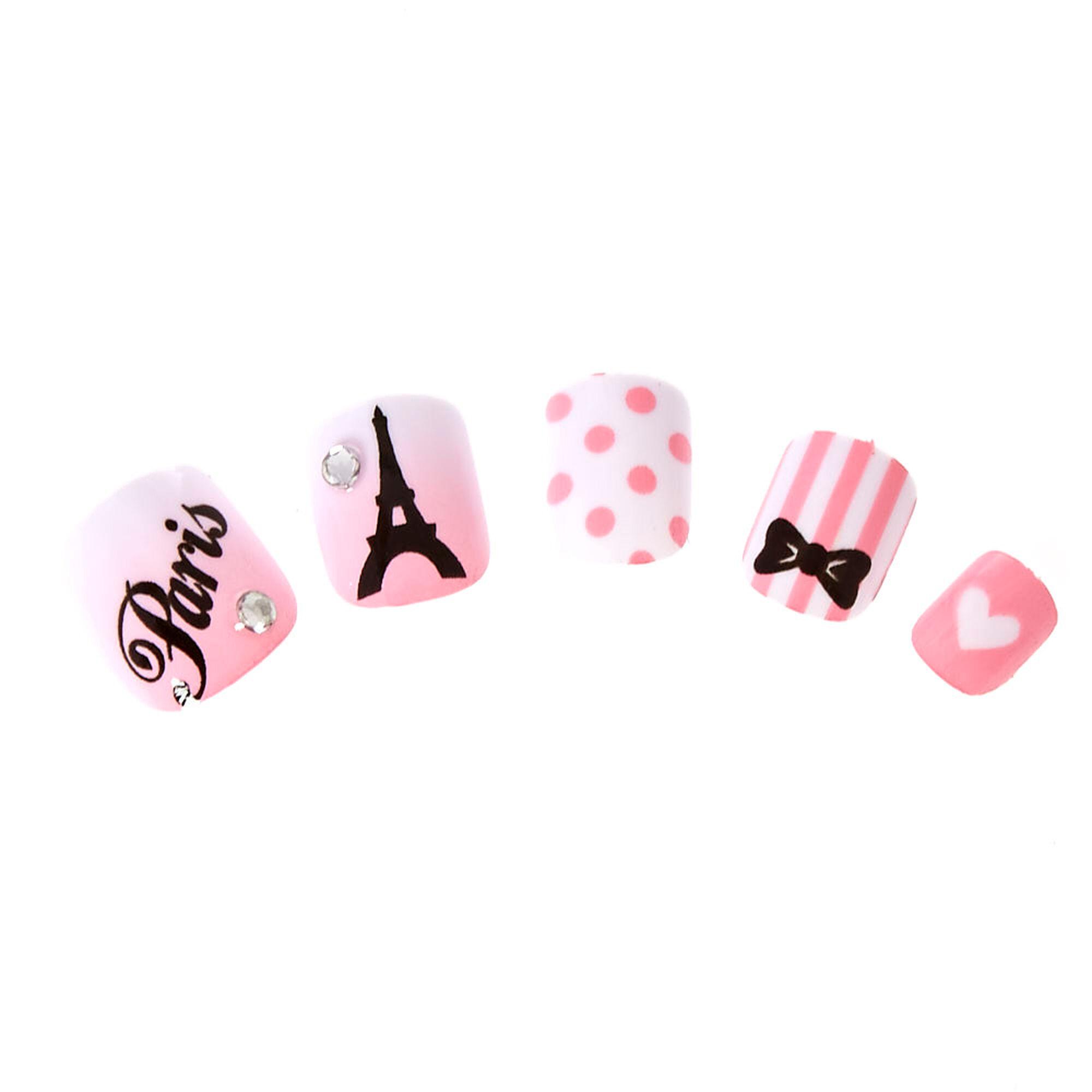 faux ongles autocollants roses paris pour enfants claire 39 s fr. Black Bedroom Furniture Sets. Home Design Ideas