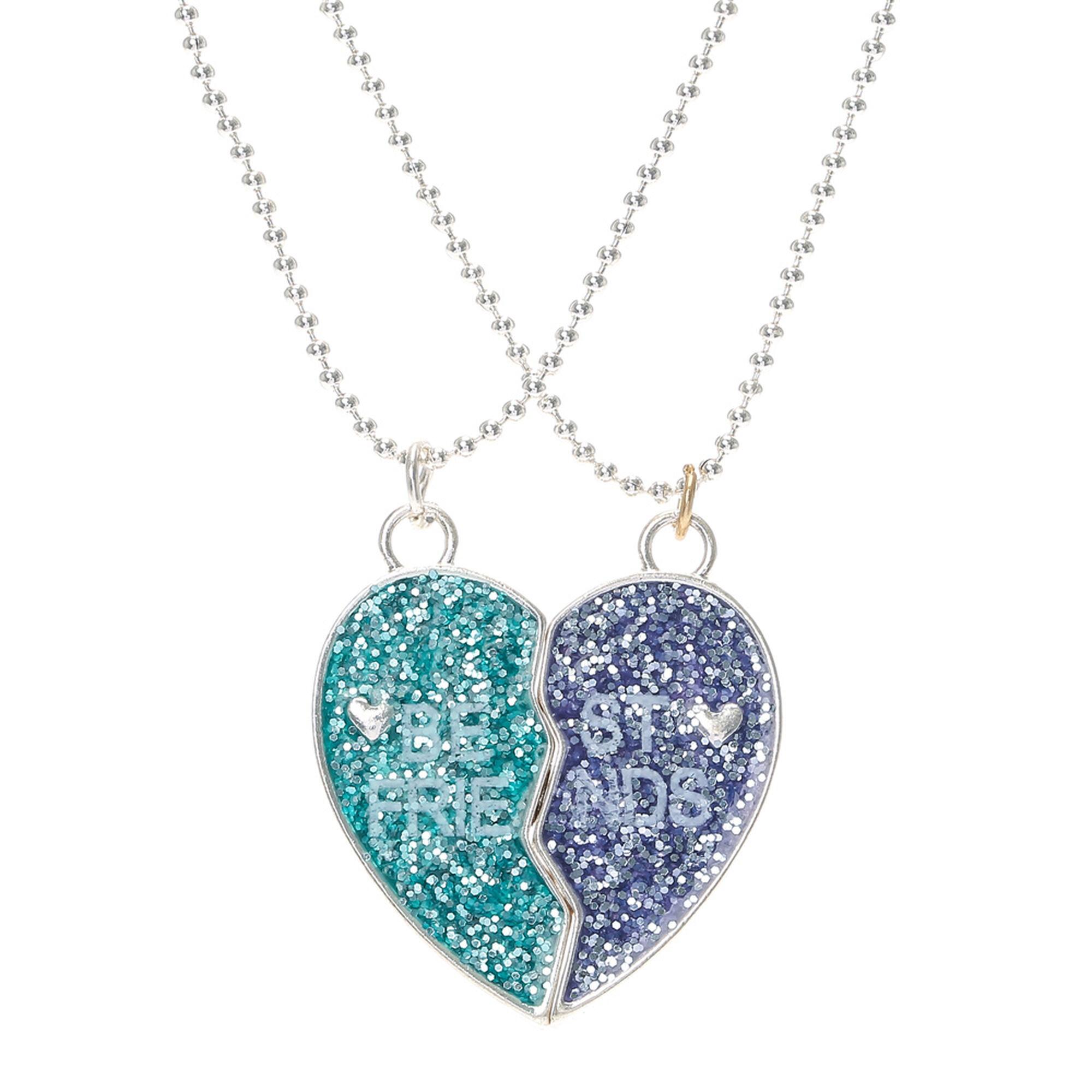 best friends glitter split heart pendant necklaces claire 39 s us. Black Bedroom Furniture Sets. Home Design Ideas