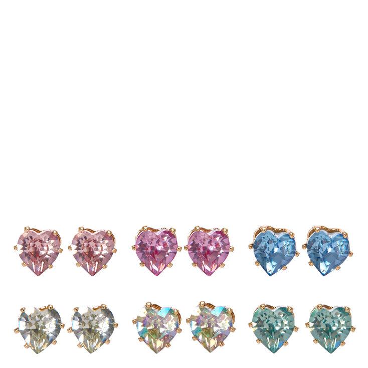 Pastel Heart Gem Stud Earrings,