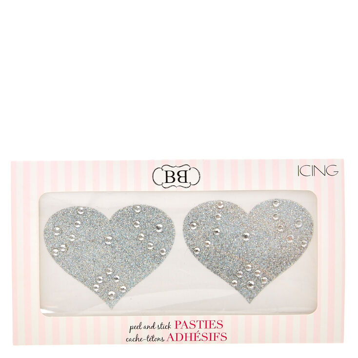 Silver Glitter Heart Peel and Stick Pasties,
