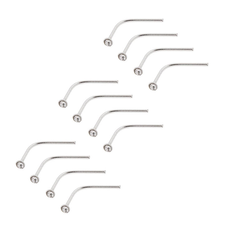 20G Sterling Silver and Crystal Bend to Fit Nose Studs Set of 12,