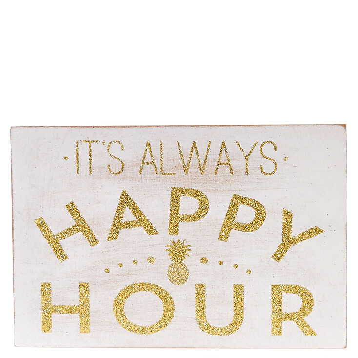 Always Happy Hour Wood Block Art,