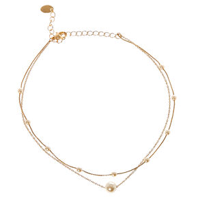 Double Strand Faux Pearl and Gold-tone Chain Choker Necklace,