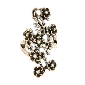Burnished Silver-tone Flower Vine Ear Cuff,