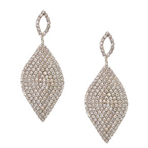 Pavè Curved Silver-tone Leaf Drop Earrings,