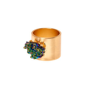 Brushed Gold-Tone Ring with Metallic Stone,