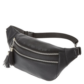 Black Faux Leather Tassel Fanny Pack,