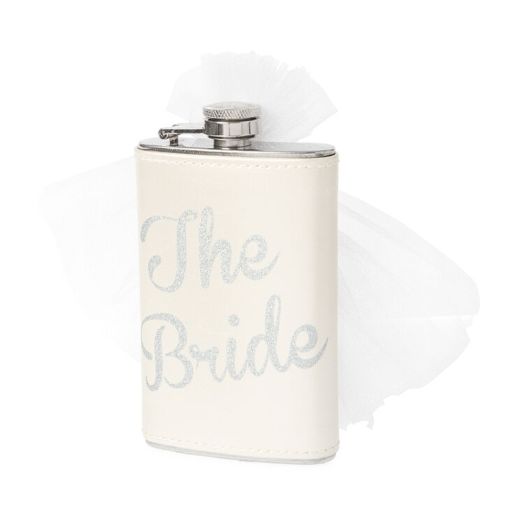 The Bride Pearlized Faux Leather Flask with Veil,