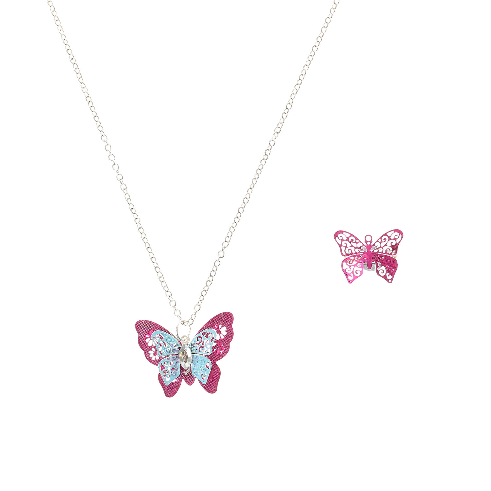 Kids Erfly Ring Necklace Set