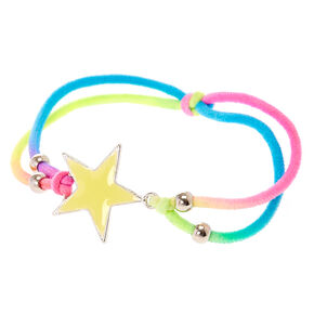 Glow in the Dark Neon  Rainbow Star Double Cord Bracelet,