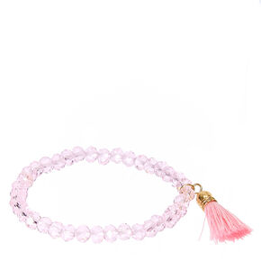 Pink Faceted Bead with Tassel Charm Stretch Bracelet,