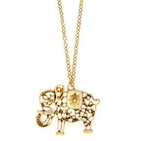 Gold Filigree Elephant Pendant Long Necklace,