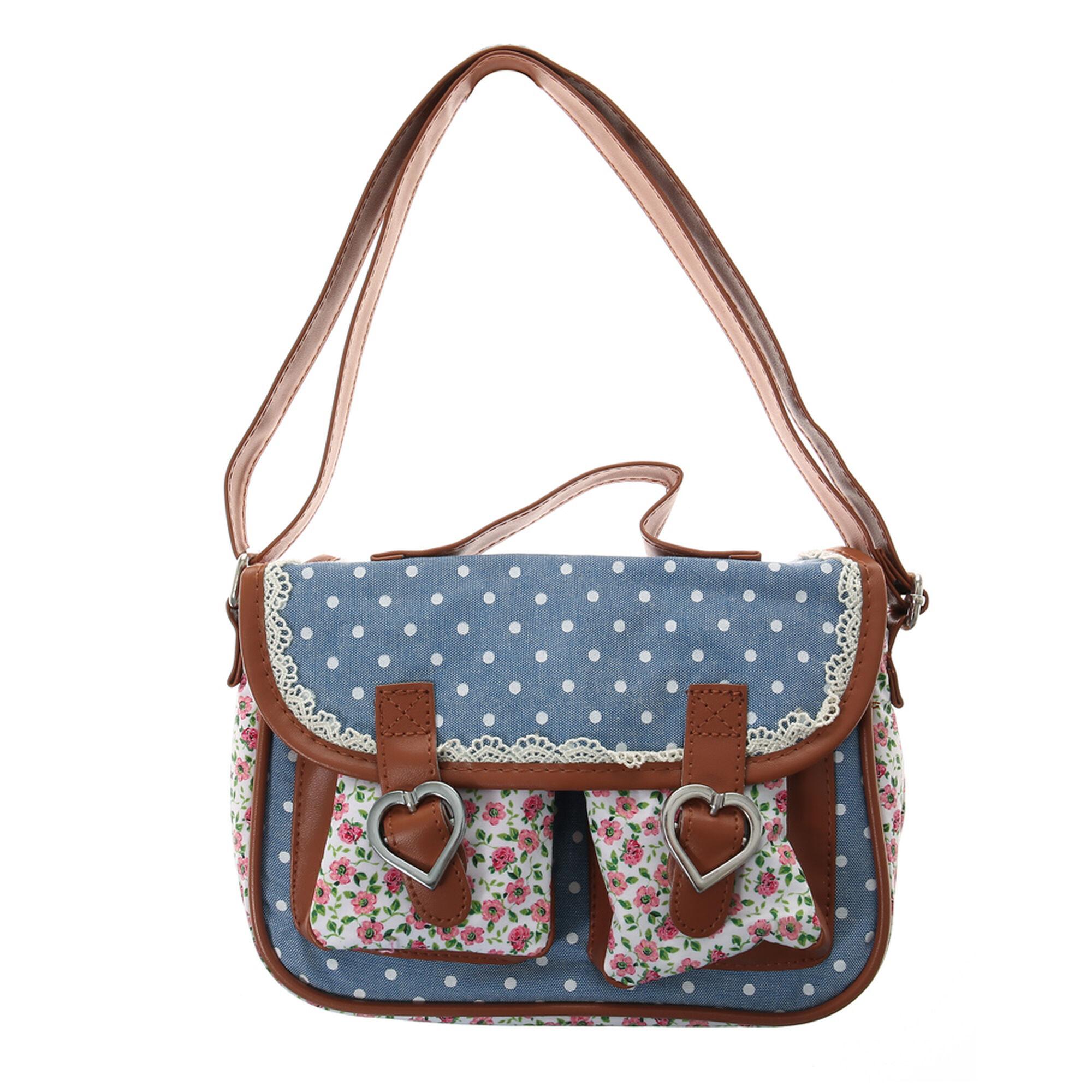 Kids Floral And Polka Dot Blue Crossbody Bag | Claireu0026#39;s US