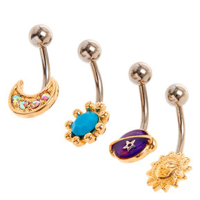 Gold Toned Celestial Belly Bars,