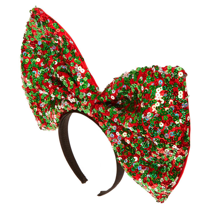 Large Red & Green Sequin Bow Headband,