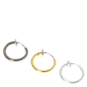 Metal Neturals Faux Nose Rings Set of Three,