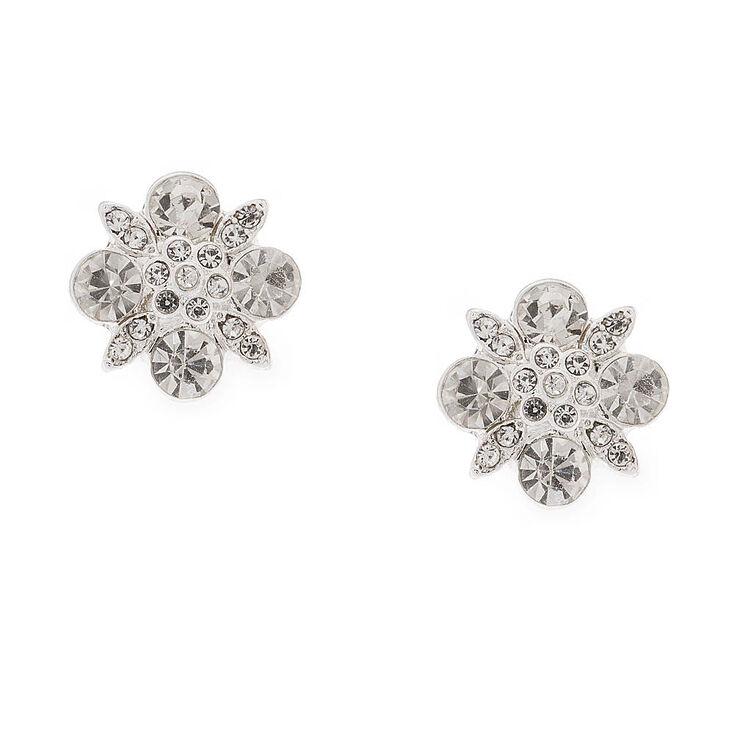 Vintage Crystal Flower Stud Earrings,
