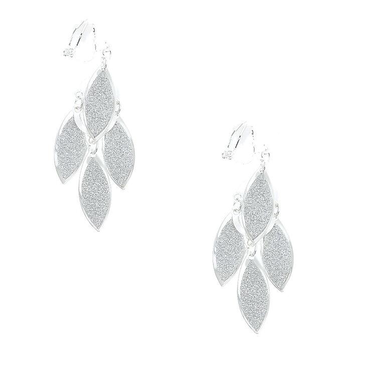 Silver Glitter Cascading Leaves Clip-on Drop Earrings,