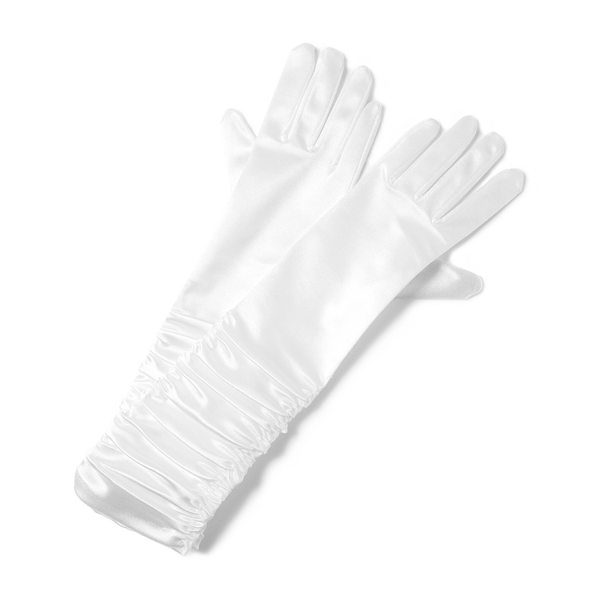 Long White Satin Ruched Gloves | Claire's